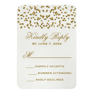 Gold Glitter Look Confetti Wedding RSVP Card 9 Cm X 13 Cm Invitation Card