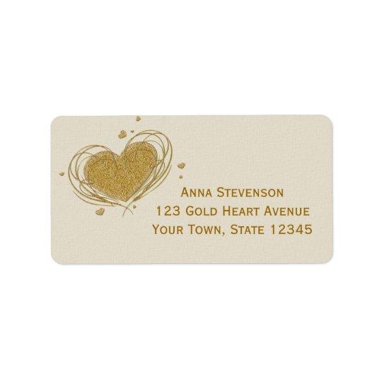 Gold Glitter-Look Heart Address Label