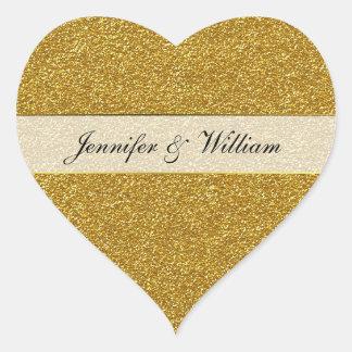 Gold Glitter Look Heart Wedding Sticker
