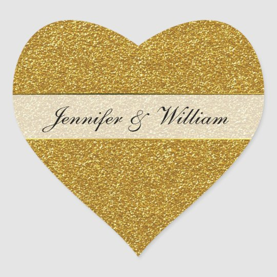 Gold Glitter Look Heart Wedding Sticker