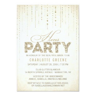 Hen party invitations and announcements zazzle uk gold glitter look hens party invitation stopboris Image collections