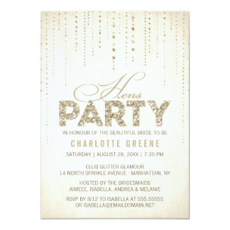 Gold Glitter Look Hens Party Invitation