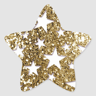Gold Glitter Look Stars Star Sticker