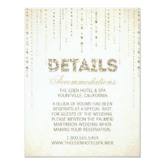 Gold Glitter Look Wedding Details Card 11 Cm X 14 Cm Invitation Card