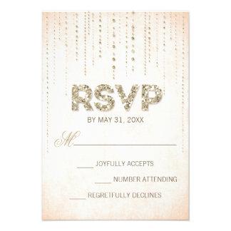 Gold Glitter Look Wedding RSVP Card