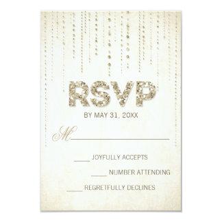 Gold Glitter Look Wedding RSVP Card 9 Cm X 13 Cm Invitation Card