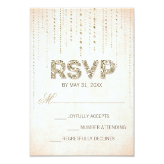 Gold Glitter Look Wedding RSVP Card Personalized Invitations
