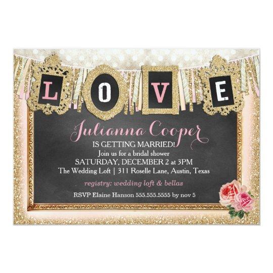 Gold Glitter Love Banner Bridal Shower Card