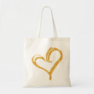 Gold Glitter Love Heart Modern Wedding Tote Budget Tote Bag