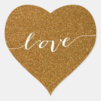 Gold Glitter Love Heart Wedding Favor Heart Sticker