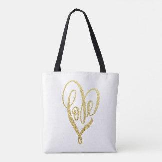Gold Glitter Love lettering Bag