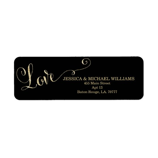 Gold Glitter Love | Valentine's Day Return Address Label