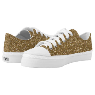 Gold Glitter Low Top Shoes Printed Shoes