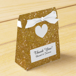 Gold glitter luxury style wedding favor box