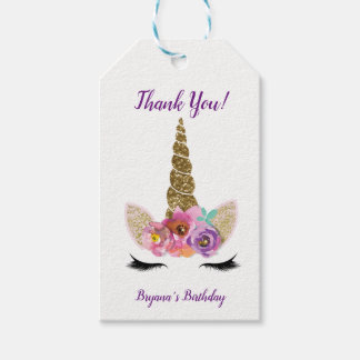 Gold Glitter Magical Unicorn Horn Birthday Party Gift Tags
