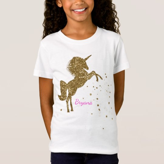 Gold Glitter Magical Unicorn & Stars Personalised T-Shirt