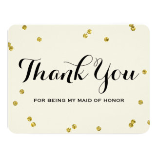 Gold Glitter | Maid Of Honor Thank You Cards