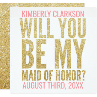 Gold Glitter Maid of Honour Photo Card
