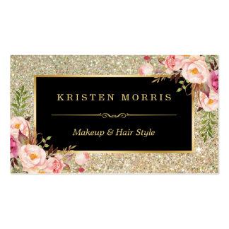 Gold Glitter Makeup Artist Hair Salon Floral Wrap Pack Of Standard Business Cards