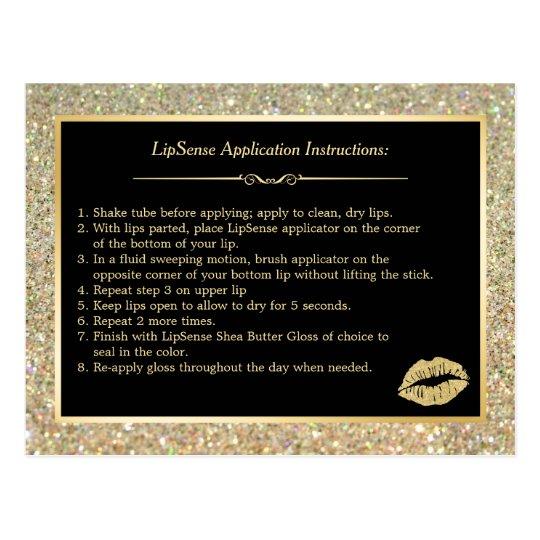 Gold Glitter Makeup Lips Instruction Tips Postcard