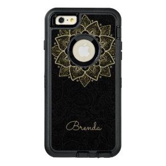 Gold Glitter Mandala & Monogram OtterBox Defender iPhone Case