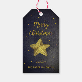 Gold Glitter Merry Christmas Star Gift Tags