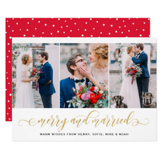 Gold Glitter Merry & Married Photo Collage Holiday Card