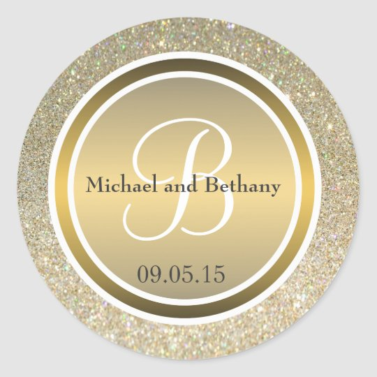 Gold Glitter & Metallic Bronze Wedding Monogram Classic