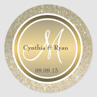 Gold Glitter & Metallic Bronze Wedding Monogram Round Sticker