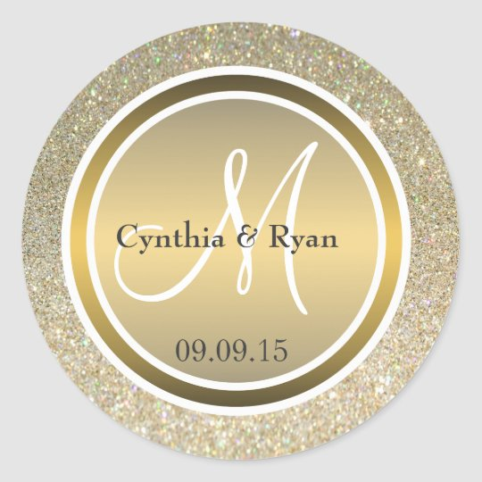 Gold Glitter & Metallic Bronze Wedding Monogram Round