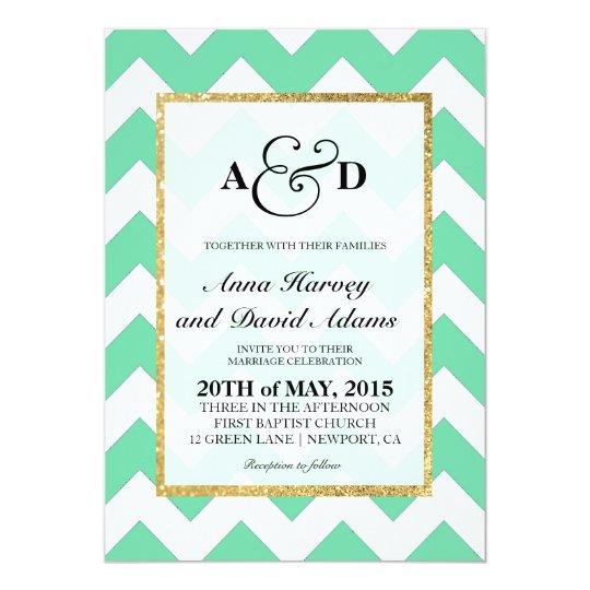Gold Glitter Mint Green Chevron Wedding Invitation