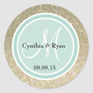Gold Glitter & Mint Green Wedding Monogram Round Sticker