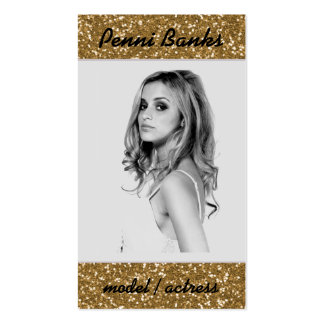 Gold Glitter Model Actress Singer Business Cards