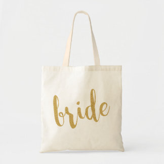 Gold Glitter Modern Text Design-Bride Tote Bag