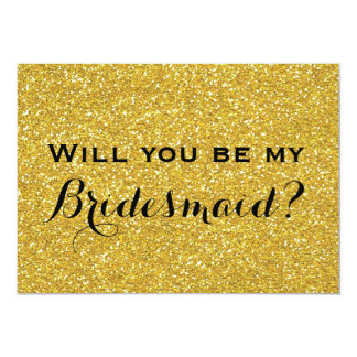 Gold Glitter Modern Will You Be My Bridesmaid Card