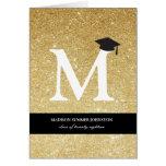 Gold Glitter Monogram Graduation Announcement Card
