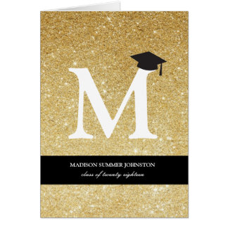 Gold Glitter Monogram Graduation Announcement Card
