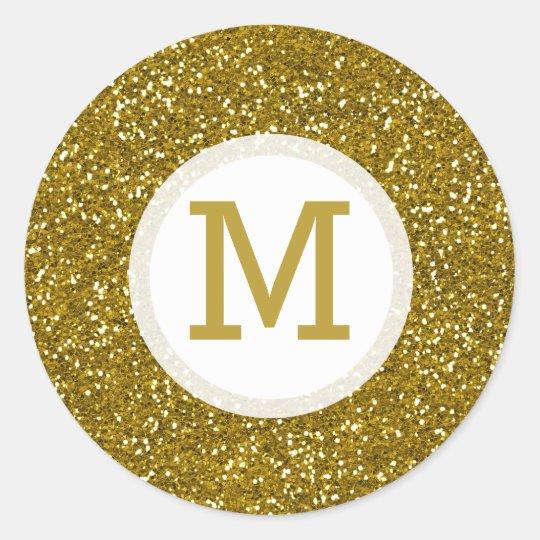 Gold Glitter Monogram Initial Classic Round Sticker