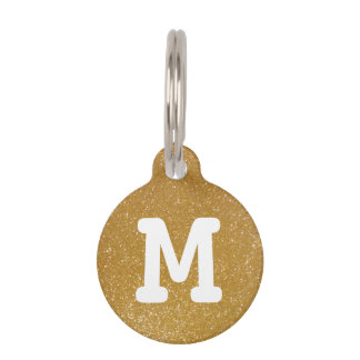 Gold glitter monogram pet tag for dogs and cats