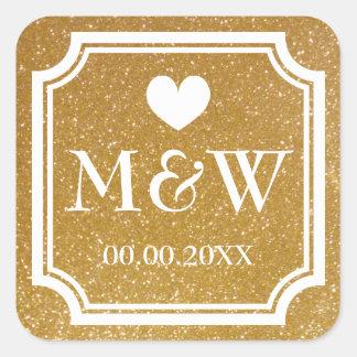 Gold glitter monogram wedding favor stickers seals