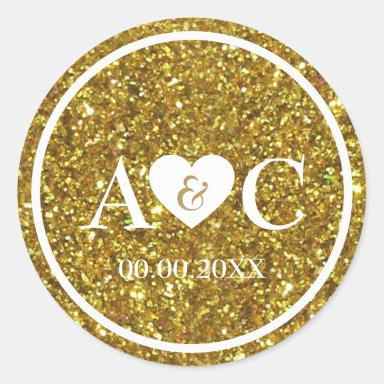 Gold glitter monogram wedding favour classic round sticker