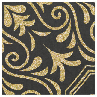 Gold Glitter Moroccan Floral Pattern On Black Fabric