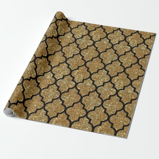 Gold Glitter Moroccan Quatrefoil Pattern Wrapping Paper