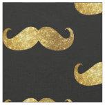Gold Glitter Moustache Fabric