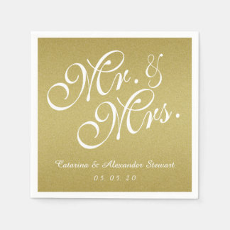 Gold Glitter Mr. and Mrs. Wedding Paper Napkins
