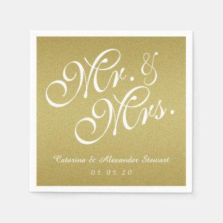 Gold Glitter Mr. and Mrs. Wedding Paper Napkins Disposable Napkin