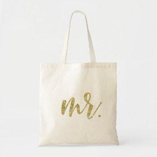 Gold Glitter Mr. Modern Wedding Script Tote Bag
