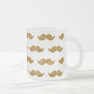 Gold Glitter Mustache Pattern Printed Mugs