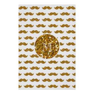 Gold Glitter Mustache Pattern Your Monogram Poster