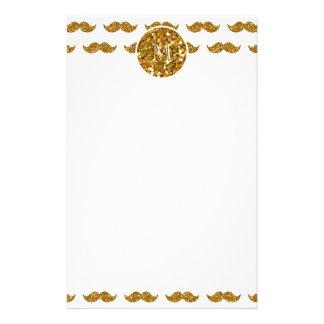 Gold Glitter Mustache Pattern Your Monogram Personalized Stationery